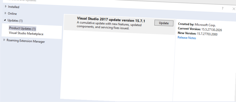 PSA: Visual Studio 2017 updated to 15.7.1